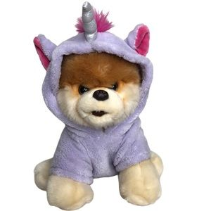 Gund BOO plush dog with purple unicorn costume